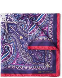 Pañuelo de bolsillo estampado azul marino de Etro