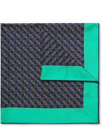 Pañuelo de bolsillo estampado azul marino de Gucci