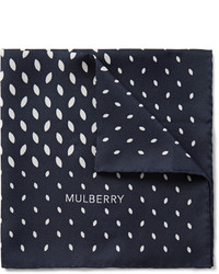 Pañuelo de bolsillo estampado azul marino de Mulberry