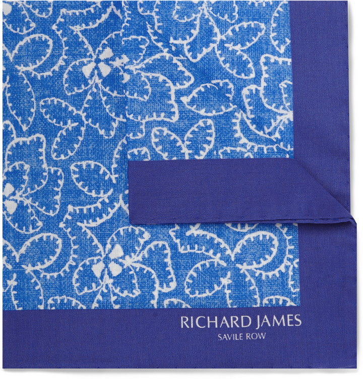 Pañuelo de bolsillo estampado azul marino de Richard James