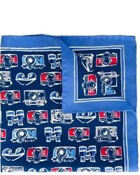 Pañuelo de bolsillo estampado azul de Kiton