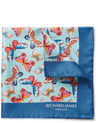 Pañuelo de bolsillo estampado azul de Richard James