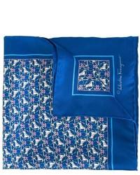 Pañuelo de bolsillo estampado azul de Salvatore Ferragamo
