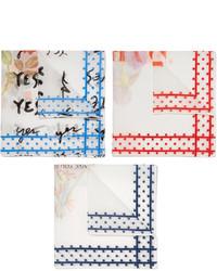 Pañuelo de bolsillo estampado blanco de Massimo Alba