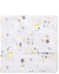 Pañuelo de bolsillo estampado blanco de Thom Browne