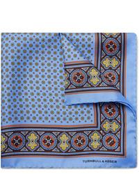 Pañuelo de bolsillo estampado celeste de Turnbull & Asser
