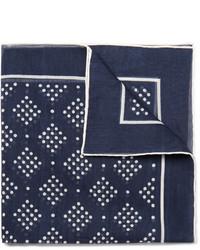 Pañuelo de bolsillo estampado en azul marino y blanco de Drakes
