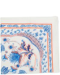 Pañuelo de bolsillo estampado en blanco y azul