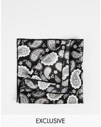 Pañuelo de bolsillo estampado en negro y blanco de Reclaimed Vintage