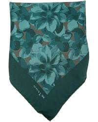 Pañuelo de bolsillo estampado verde oscuro de Kiton