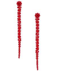Pendientes con print de flores rojos