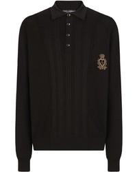 Polo de manga larga bordado negro de Dolce & Gabbana