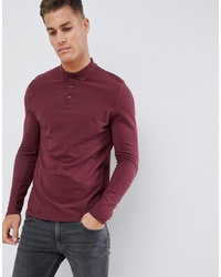 Polo de manga larga burdeos de ASOS DESIGN