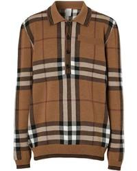 Polo de manga larga de lana a cuadros marrón de Burberry