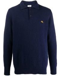 Polo de manga larga de lana azul marino de Etro
