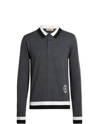 Polo de manga larga de lana en gris oscuro de Burberry