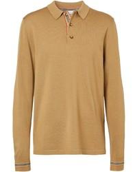 Polo de manga larga de lana marrón claro de Burberry