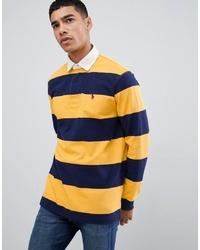 Polo de manga larga de rayas horizontales amarillo