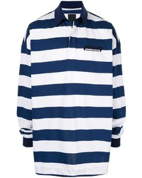 Polo de manga larga de rayas horizontales en azul marino y blanco de Juun.J