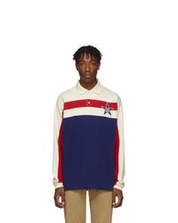 Polo de manga larga de rayas horizontales en blanco y rojo y azul marino de Gucci