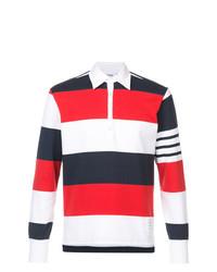 Polo de manga larga de rayas horizontales en blanco y rojo y azul marino de Thom Browne