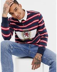 Polo de manga larga de rayas horizontales en blanco y rojo y azul marino de Tommy Jeans