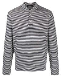 Polo de manga larga de rayas horizontales en negro y blanco de DSQUARED2