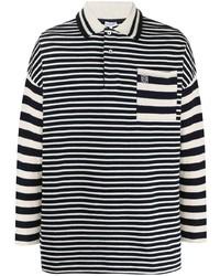 Polo de manga larga de rayas horizontales en negro y blanco de Loewe