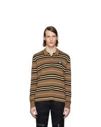 Polo de manga larga de rayas horizontales marrón de Burberry