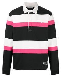 Polo de manga larga de rayas horizontales negro de Valentino