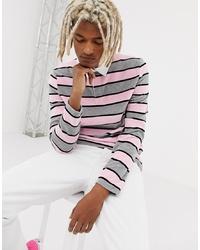 Polo de manga larga de rayas horizontales rosado de ASOS DESIGN