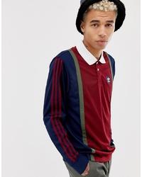 Polo de manga larga en blanco y rojo y azul marino de Adidas Skateboarding