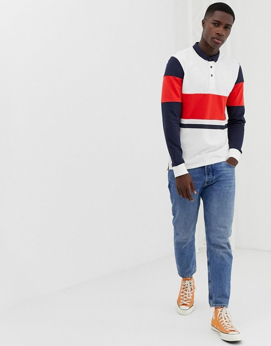 Polo de manga larga en blanco y rojo y azul marino de ONLY & SONS