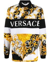 Polo de manga larga estampado blanco de Versace