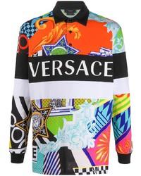 Polo de manga larga estampado en multicolor de Versace