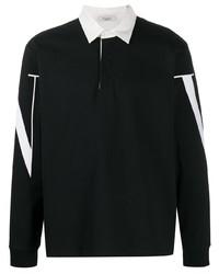 Polo de manga larga estampado en negro y blanco de Valentino