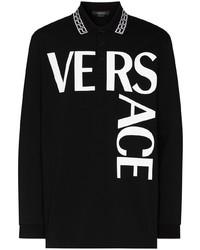 Polo de manga larga estampado en negro y blanco de Versace