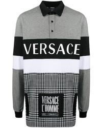 Polo de manga larga estampado gris de Versace