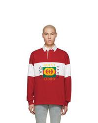 Polo de manga larga estampado rojo de Gucci