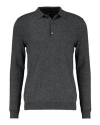 Polo de manga larga gris de Burton Menswear London