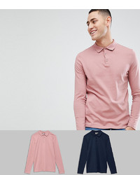 Polo de manga larga rosado de ASOS DESIGN