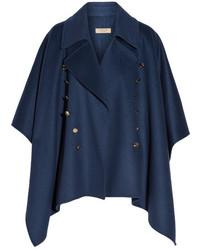 Poncho de lana azul marino de Burberry
