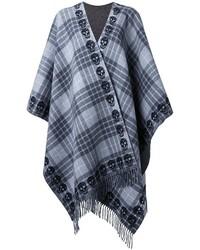 Poncho de lana de tartán en gris oscuro de Alexander McQueen