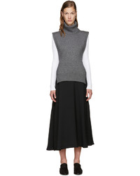 Poncho de lana gris de Rosetta Getty