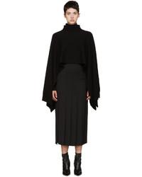 Poncho de lana negro de Rosetta Getty
