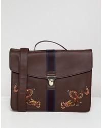 Portafolio de cuero marrón de ASOS DESIGN