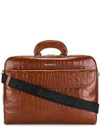 Portafolio de cuero marrón de Baldinini