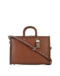 Portafolio de cuero marrón de Coach
