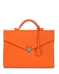 Portafolio de cuero naranja