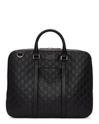 Portafolio de cuero negro de Gucci